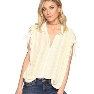 Free People Baby Blues Yellow/White Striped Top L